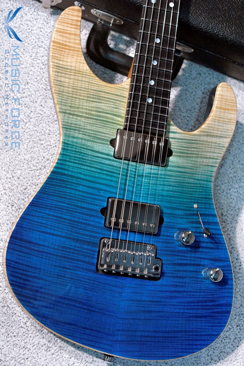 [파이널세일(~12/31까지)] Suhr Custom Modern Carve Top HH FMT-Custom Color Aqua Blue Gradient w/Ebony FB & Match Figured Headstock(2018년산/신품)
