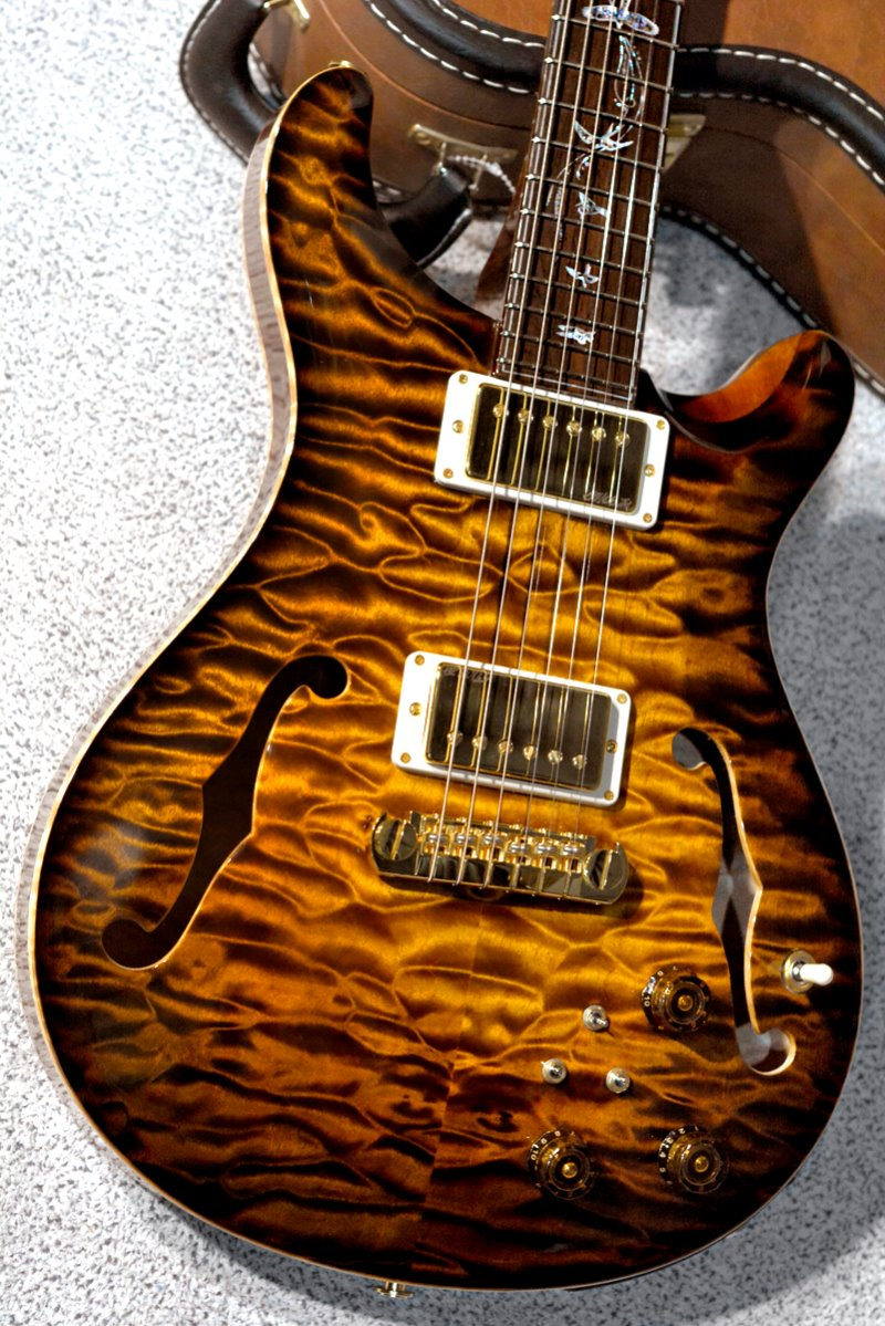 PRS Private Stock Hollowbody II QMT-Tiger Eye Smoked Burst Glow(Custom Color) w/Figured Maple Neck & Brazilian Rosewood(CITES-Certified) Fingerboard(2016년산/신품)