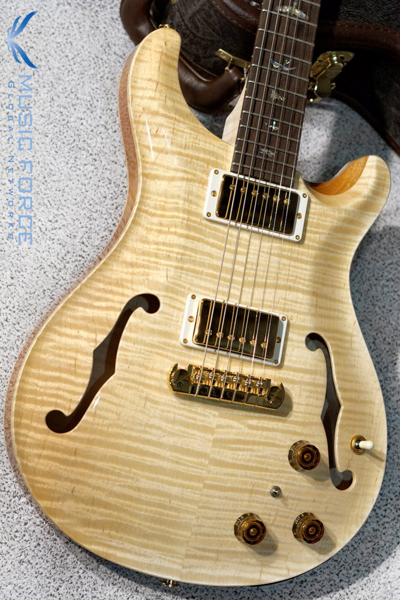 [파이널세일(~12/31까지)] PRS Hollowbody II Artist Package(Flame)-Antique Natural w/Figured Maple Neck with Brazilian Rosewood(CITES-Certified) FB & Piezo(2017년산/신품)
